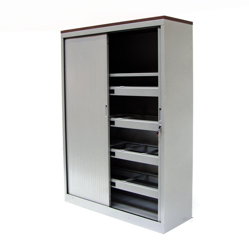 Gebruikte aluminium roldeurkast met noten topblad Officetopper kantoormeubelen